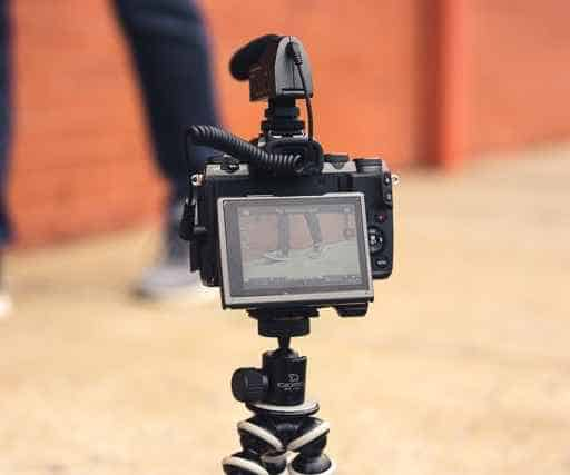 camera placed on a tripod