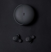 Matte black truly wireless earbuds