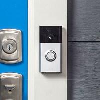 ring wireless doorbell installed on the door