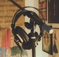studio headphones on stand