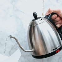 black and silver electric kettle