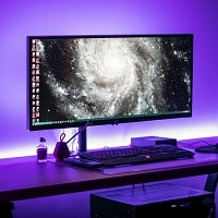 gaming desk with purple lighting