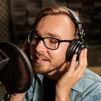 man with studio headphones