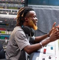 artist with sennheiser headphones