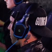 blue gaming headphones