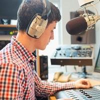 boy sitting in the studio