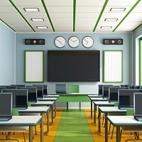 ceiling speaker installed in a class room