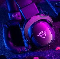 gaming headphones in purple light
