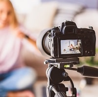 girl recording a video