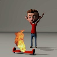 boy and burning hoverboard