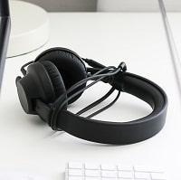 beautiful black wired headphones
