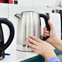 stainless steel electric kettle in the shop