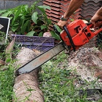 Man using the electric chainsaw at home