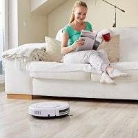 robot vacuum in the living room