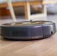 robot vacuum on a wooden floor